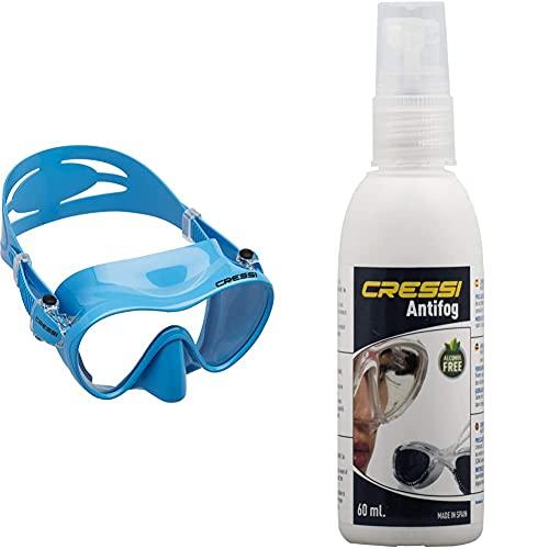 Cressi F1 Mask Máscara Monocristal Tecnología Frameless, Unisex, Azul, L + Premium Anti Fog Antivaho Spray para Máscara De Buceo/Gafas De Natación, 60 Ml