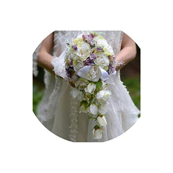 Ivory Purple Cascading Bridal Bouquets De Mariage Roses Artificial Silk Flower Handmade Wedding Bouquet Sale