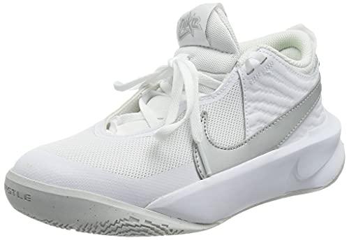 Nike Team Hustle D 10 GS, Scarpe da Ginnastica, White/Mtlc Silver-Volt-Photon Dust, 40 EU