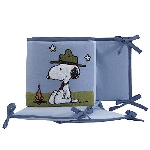 Peanuts Snoopy's Campout 4 Piece Crib Bumper, Blue/White