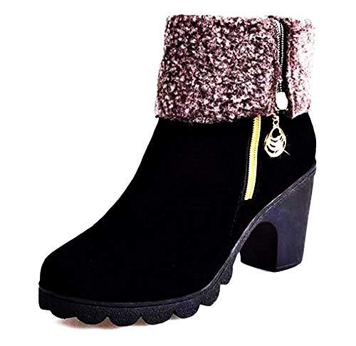 Botas de Mujer - Acolchadas - Color Negro - Gamuza sintética - Cremallera - Hebilla de Color Dorado - zjp - 008 - Idea cumpleaños