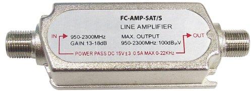Fixapart FC-AMP-SAT/S - Amplificador de señal para equipos por satélite (15 V, 0.5 A, 0-22 KHz), plateado