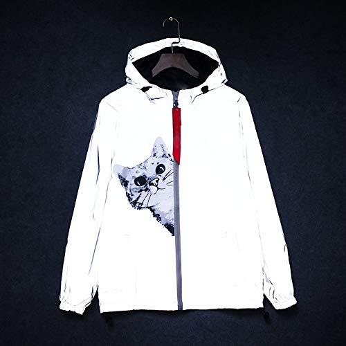 QinWenYan trui met capuchon, lange mouwen, Korea, heldere versie, reflecterende jas, kleding voor heren, dames, zilverkleurig
