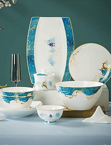 CCAN Juego de vajilla de Porcelana China de Hueso de 42-128 Piezas, Servicio para 6-20, Lujoso Juego de vajilla de Porcelana con Plato de Pescado, Plato de Postre, Cuenco de Cereal (Color: 88 Piezas)