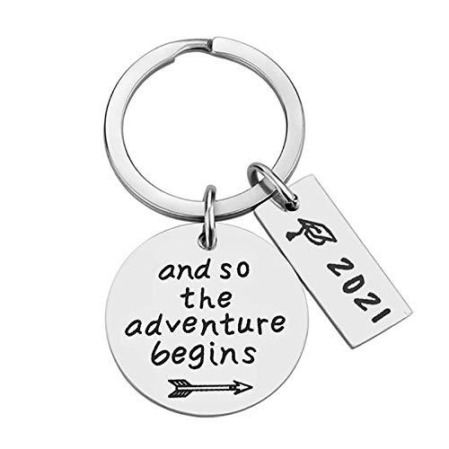2021 School Keychain Keyring Memorial Graduation Gift Special Jewellery Pendant Keyring Women Keychain Matching Heart Keychain Christmas Birthday Thanksgiving (A)