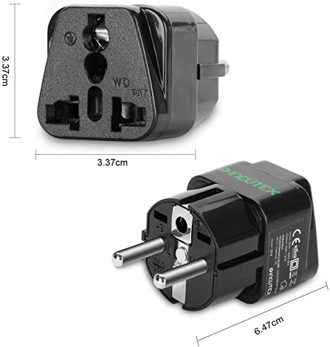Incutex 1x universal Steckdosenadapter Reiseadapter universal Reisestecker US UK zu EU DE Schuko universal travel Adapter Plug, schwarz