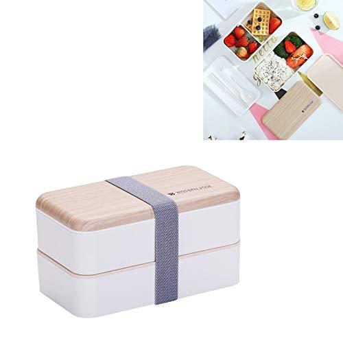 HULDORO Boîte à Lunch Double Couche de Bureau Boîte de Chauffage Micro-Ondes portatif en Bois Student Bento Boîte de Bento avec Couverts Boîte à déjeuner (Color : White)
