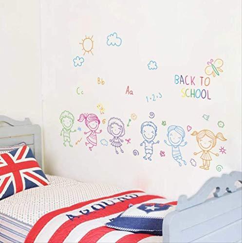 Muursticker Cartoon jongen meisjes terug naar school wandtattoo kinderkamer kinderkamer Nursery Home Decor 30 x 90 cm PVC muurschilderingen Art DIY Poster