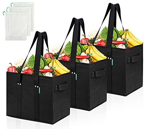 COTTARA Premium Einkaufstasche faltbar 3er Pack – Stabiler wiederverwendbarer Einkaufskorb mit faltbarem verstärktem Boden inkl. 3X Obst- & Gemüsenetze – 38 x 23 x 31 cm Schwarz