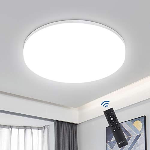 Deckenleuchte LED Dimmbar, 36W 3600LM Deckenlampe Dimmbar mit Fernbedienung, LEOEU Deckenbeleuchtung IP54 Badlampe für Wohnzimmer Schlafzimmer Küche, Ø33cm Lichtfarbe und Helligkeit einstellbar