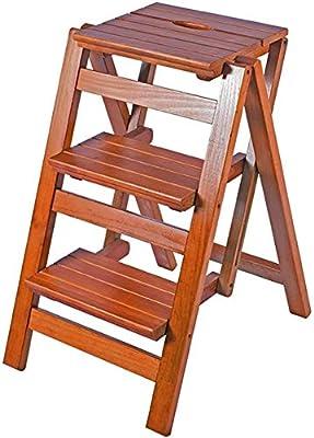 Taburete de escalera Taburete plegable de madera Escalera de escalera para adultos y niños Escaleras de cocina Taburetes de pie pequeños Banco de zapatos portátil / Estante de flores (Color: Marrón: Amazon.es:
