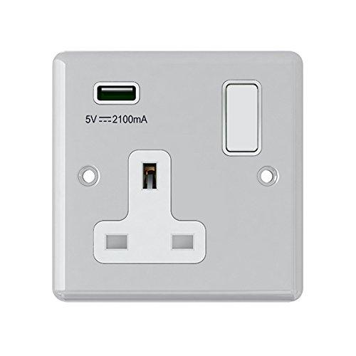 AET usbcpc1gsocwh 13 A 1-versnelling, klassiek gepolijst chroom enkele aansluiting en USB-stopcontact, met wit inzetstuk van kunststof Rocker