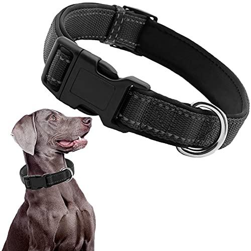CHMEYUN Collar para Perros, Medianos - Fuerte E Impermeable - Trenza Textil, Costura Reforzada, Hebilla Doble - para Cachorros Pequeños-Negro