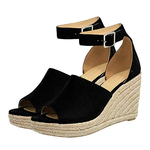 BOLUBILUY Women's Wedge Sandals Casual Sandals Shoes Summer Ankle Strap Buckle Open Toe Wedges Flat Heels Summer Black