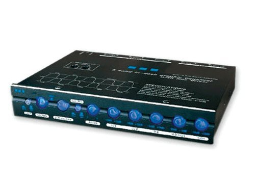 Absolute EQ-600 Compact Dash Mount 5 Band Graphic Equalizer With X-over Sub Level Woofer Control And AUX Inputs