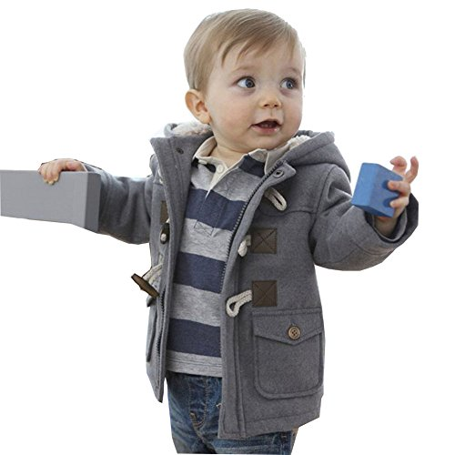 MissChild Baby Kinder Jungen Wintermantel mit Kapuze Steppjacke Winter Herbst Hooded Oberbekleidung Warm Fleece Duffle Mantel Grau Label 100