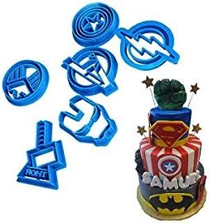 S.Han 6 Pcs Avengers Cookie Cartoon Cutter Plastic Fondant Biscuit Cutter Sugarcraft Cake Decorating Tools