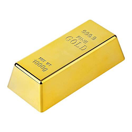 MZSM Gefälschte Goldbarren,Gefälschte Goldene Backstein,Plastikgoldbarren Glänzend,Goldbarren Dekorativ,Briefbeschwerer Gold Türstopper Pirat Gold Schatz Dekorative Requisite für Home-Office-Dekoratio