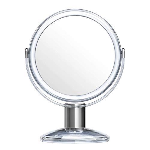 Espejo de tocador con 1 x 7 x 360 grados, espejo de aumento giratorio, espejo de baño de pie con estilo de cristal ZHNGHENG