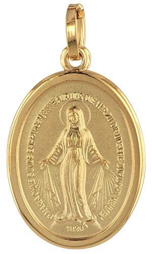 trendor Milagrosa Anhänger Gold 750 (18 Karat) 18 mm zauberhafter Echtgold Anhänger für Damen und Herren, Abbild der Mutter Jesu, Goldschmuck, Madonna, 75311