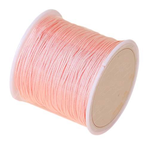SHOUCAN Hilo De Jade Cuerda Tejida A Mano 0.8mm Cordón De Anudar Chino Trenzado Longitud 45 Metros Adecuado para La Fabricación De Pulseras De Macramé,Bright Pink