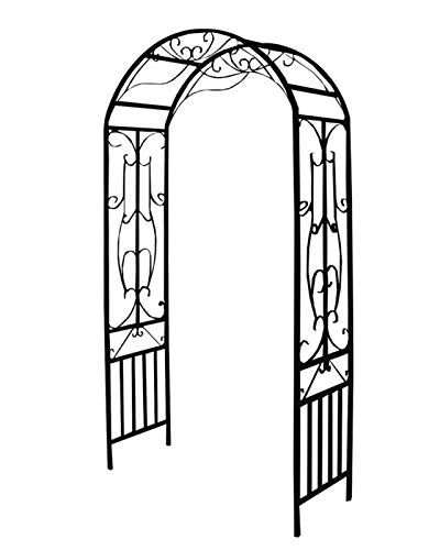 F-XW Black Garden Arch, Rose Arbor, 114cm/3.7Ft Wide x 219cm/7.2Ft High, for Climbing Plant, Outdoor Lawn Backyard, Weeding, 29mm/1.14in in Tube Diameter