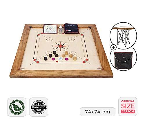 Ubergames Professionelles Carrom Brettspiele 12 kg - Top ECO-Hartholz Qualität - Komplettes Set mit Offiziellen Scheiben und Pulver (Carrom mit Tisch und Tasche)