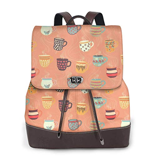 Womens Travel Backpack Tea Cups Genuine Leather Bags Purse