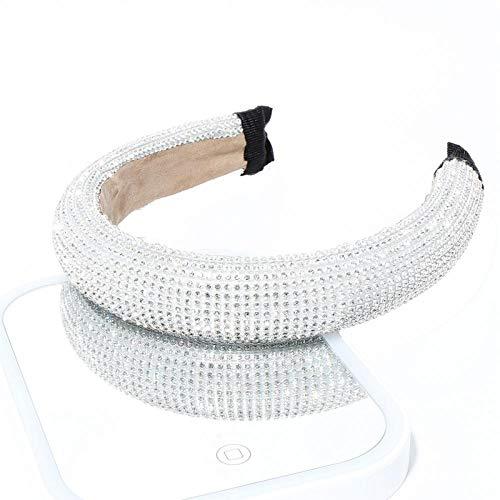 Tony plate Bandeau Brillant De Strass Bandeau Diamant Large Cheveux Cerceau pour Les Femmes Cristal Chic Couronne Bandeau Filles Chapeaux Cheveux Accessoires-Sliver_