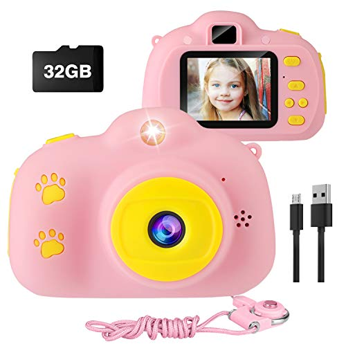 Kids Camera, AIMASON Digital Video Camera for Girls Gifts for Children, Good Size for Little Hands, Easy to Take Pictures and Videos, Cute Rechargeable Creative DIY Camcorder with 32GB SD Card (Pink)