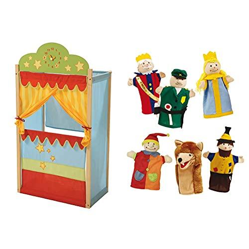 roba 7102 - Teatrino delle Marionette, con Orologio, in Legno Massiccio con Rivestimento in Stoffa, 3 Anni+ & 9712 -Set di 6 Burattini