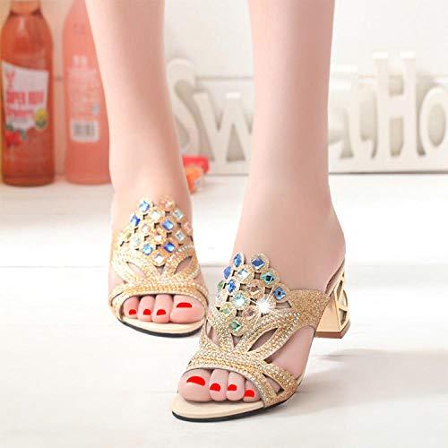 Antideslizantes ZapatosdeEstar,Zapatillas de Flores de Verano para Mujer Sandalias y Zapatillas de Diamantes de imitación-Light Blue_40