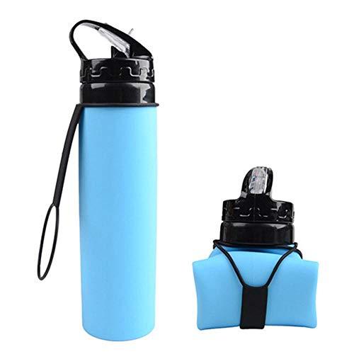 RUIRUI La Taza Plegable de Silicona Resistente a la Botella Deportiva es Ligera y portátil, Gimnasio/hogar/Exterior 600ml (Color : Blue)