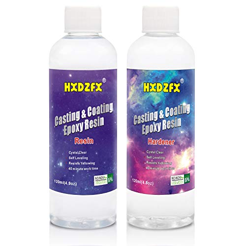 HXDZFX Crystal Clear Bar Table Top Epoxy Resin Coating for Wood Tabletop - 9.7 Ounce Kit