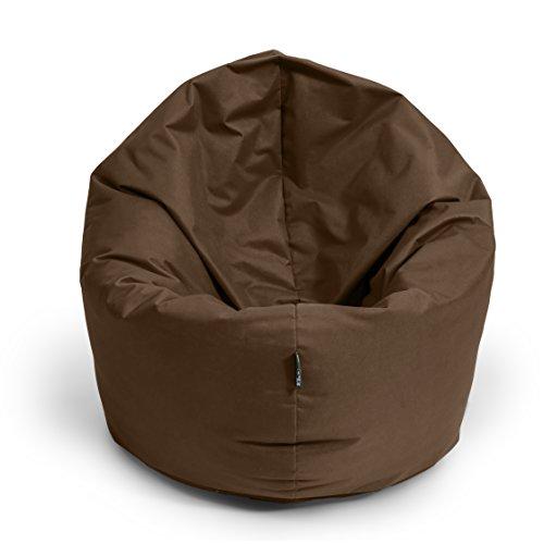 BuBiBag Sitzsack 2-in-1 Funktionen mit Füllung Sitzkissen Bodenkissen Kissen Sessel BeanBag (100 cm Durchmesser, braun)