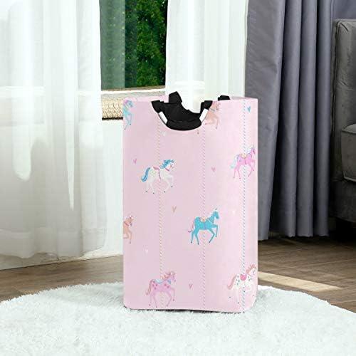 MONTOJ Roze Eenhoorns opvouwbare wasmand mand mand vouwen kleding belemmert