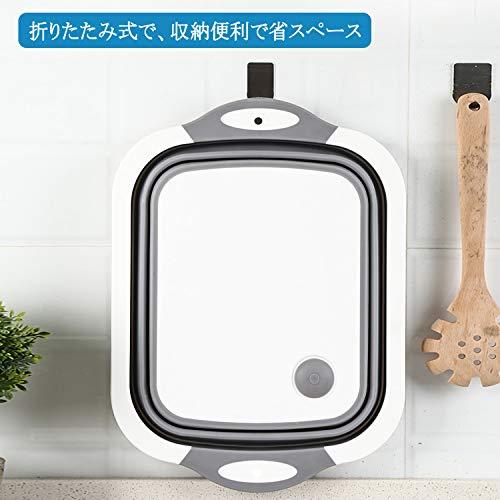 Insputer洗い桶折りたたみバケツ水切りかごまな板キッチン用アウトドア用多機能コンパクト収納便利排水栓付き