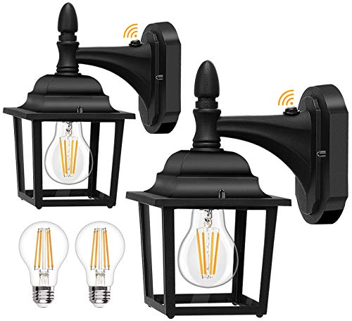 Dusk to Dawn Sensor Outdoor Wall Lanterns 2 Pack, 750 Lumen LED Bulbs Included, Exterior Light Fixtures Wall Mount, Anti-Rust Aluminum Waterproof Porch Light with Clear Glass for Entryway Garage Patio