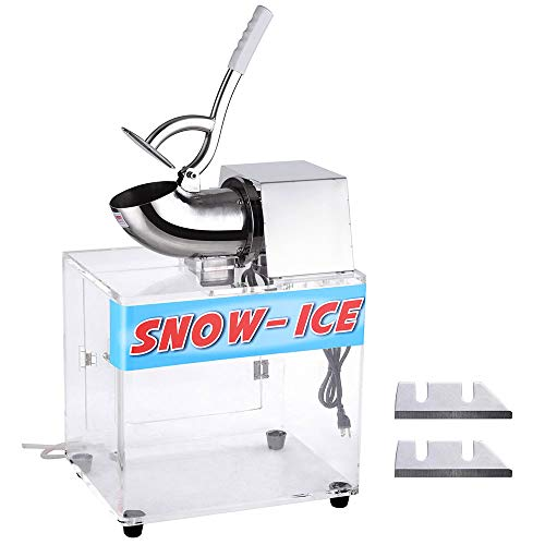Review Electric Ice Shaver - 250W Electric Snow Cone Maker Shaver Commercial Ice Crusher w/Dual Blad...