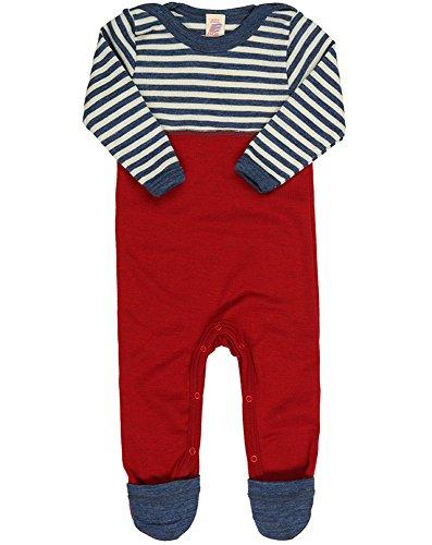 Engel Natur, Baby Overall / Anzug mit Umschlag an den Beinen, 100% kbT Wolle (86/92, Blau melange/Natur)