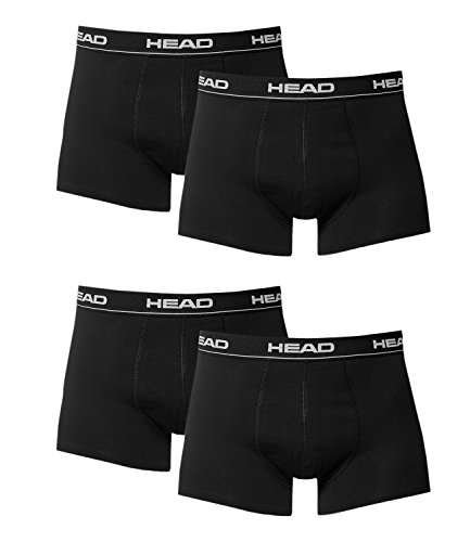 HEAD Herren Boxer Boxershort Unterhose 4er Pack, black, L