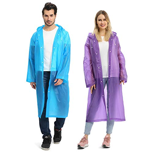 Opret Portable EVA Raincoats for Adults, Reusable Rain Ponchos with Hoods and Sleeves Lightweight Raincoats, Blue&Purple