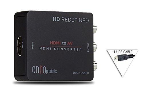 enKo Products Mini Composite HDMI to RCA CVBS AV Converter (Input: HDMI; Output: AV) for VCR DVD 720P 1080P