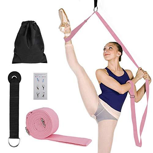 MaoXinTek Yoga-Gurt Beinstrecker Stretch-Band, Stretching Fitnessbänder Equipment für Tanzen, Ballett & Gymnastik Beinspreizer Training, Langer Baumwolle Schlingentrainer mit Türanker, Rosa