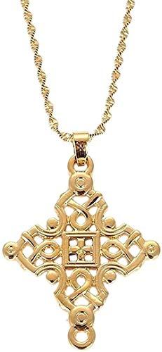 WYDSFWL Collar Grandes Cadenas Cruzadas de Oro para Mujeres Hombres Cruces etíopes encantos Colgante joyería Religiosa Regalos Collares Longitud 50 cm Collar