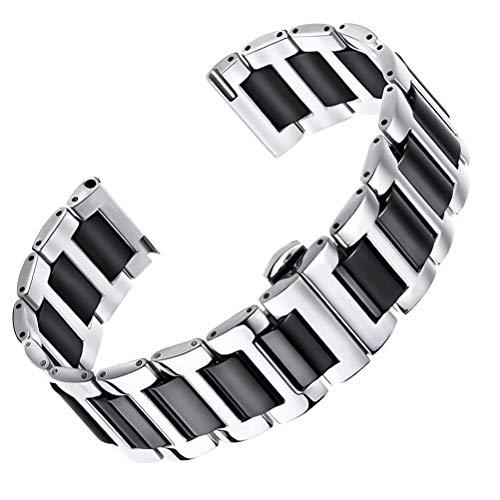 Acero Inoxidable sólido reemplazo Correa de Reloj de cerámica de 12 mm de Alto Nivel de Metal en Dos de Plata Tono y Negro