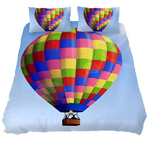Mapotofux King Duvet Cover Set,Soft Bedding Cover,Luxury Cool Lightweight Microfiber 3pc Set (1 Cover 2 Pillowcase) with Zip,Best Bed Quilt Cover,Air Balloon Print