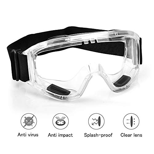 Protective Safety Goggles with universal fit | Clear, Fog-Free, Anti-Spittle, Anti Scratch Coated...