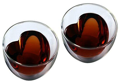 """Erlebnisgläser: 2x 250ml """"doppelwandiges"""" Teeglas mit Herzform innen, Thermoglas mit Schwebe-Effekt als einzigartiges edles Teeglas und Kaffeeglas, Feelino-Teeglas, für Weihnachten als Weihnachtsgeschenk oder zum Muttertag als Muttertagsgeschenk"""