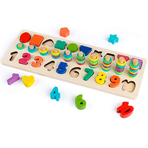Coogam Wooden Count and Match Numbers & Shape Sorter Stacker Toy - Educational Preschool Learn to Count and Number Recognition Game
